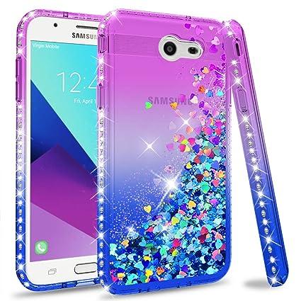 Galaxy J3 Prime Case,J3 Emerge / J3 Eclipse/Express Prime 2 Etui Glitter  Phone Case for Women,LeYi Luxury Bling Diamond Liquid Quicksand TPU