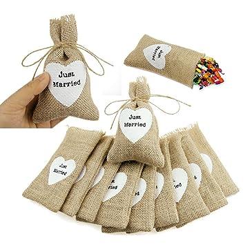 Hunpta - Bolsa de yute natural, 10 unidades, tamaño pequeño ...