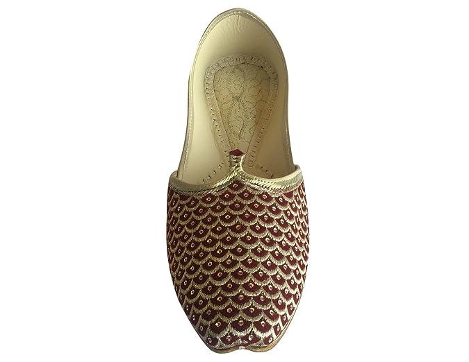 Step n Style Punjabi JUTTI Sherwani zapatos Mehroon oro indio Khussa zapatos Formal sandalias calzado étnico, color, talla 41 1/3