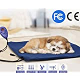 Pet Heating Pad, FLYMEI Dogs and Cats Electric Heating Pad Waterproof Adjustable Warming Mat with Chew Resistant Cord, Soft Removable Cover, Overheat Protection