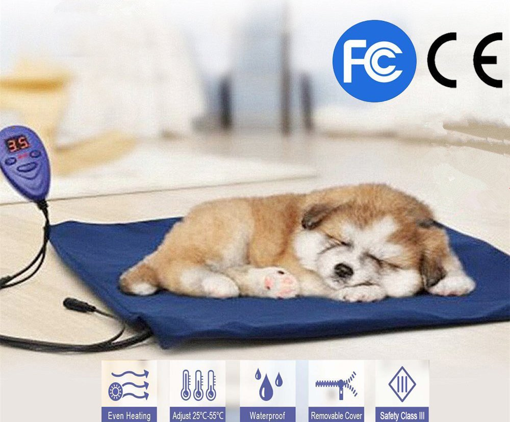 FLYMEI Pet Heating Pad, Dog Cat Electric Heating Pad Waterproof Adjustable Warming Mat with Chew Resistant Cord, Soft Removable Cover, Overheat Protection
