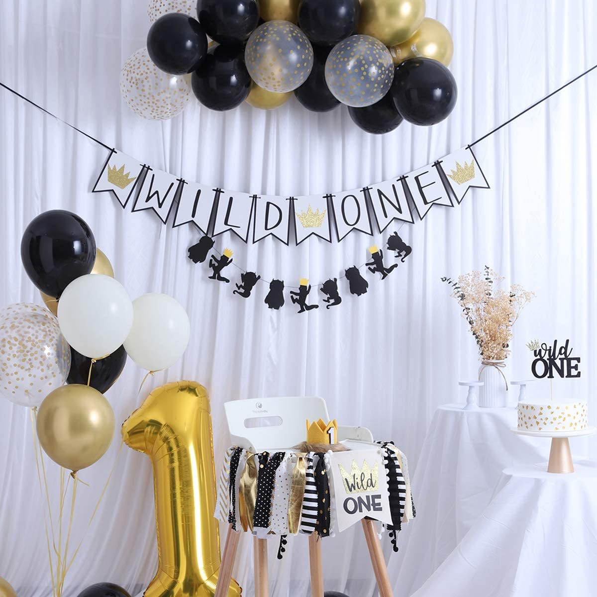 Wild One Party Decorations Supplies Kit - 47pcs, Where The Wild Things,wild One-inspired Garland,Golden Aluminum Balloon 1,Latex Balloons,Banner,Crown Hat, Cake Topper