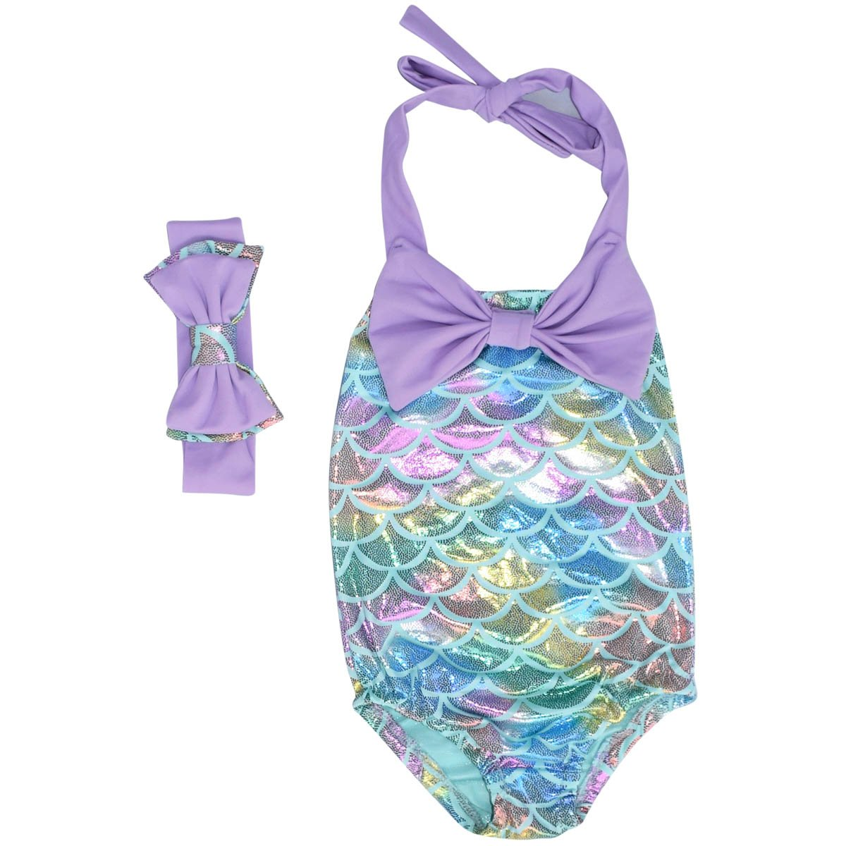 Unique Baby Girls Mermaid Scale Bathing Suit and Headband (Blue, 5/L)