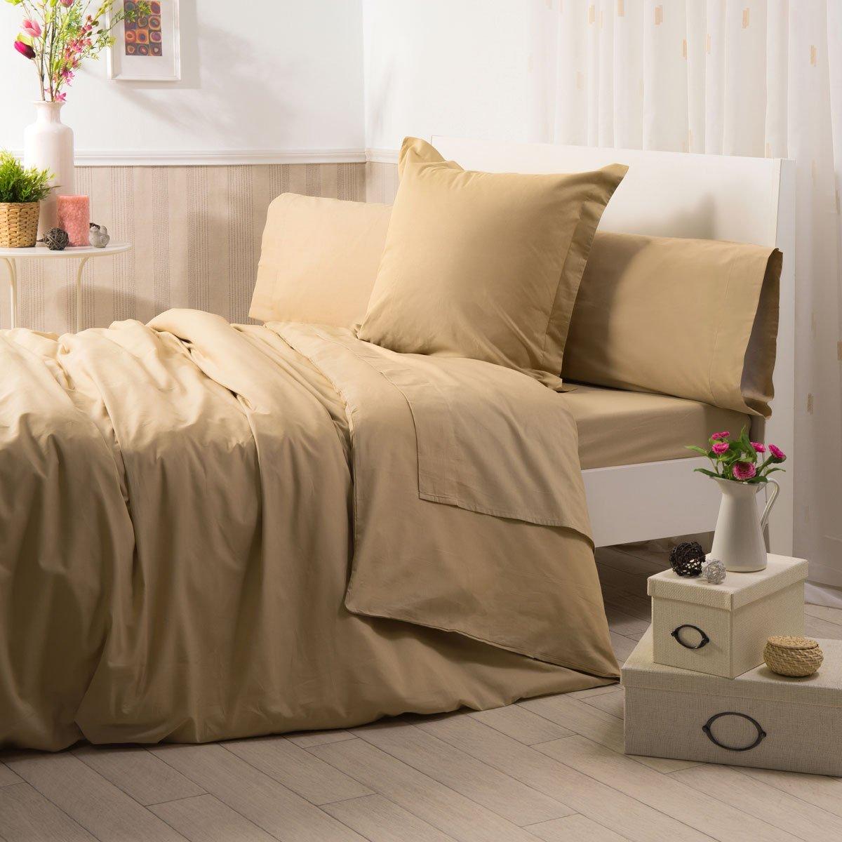 Sancarlos - Funda de almohada para cama, 100% Algodón percal, Color marrón, Cama de 135 cm: Amazon.es: Hogar