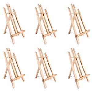 """14"""" A-Frame Painting Easels (6-Pack), Ohuhu 14 Inches Tall Display Stand Tabletop Art Easel Set Mini Wood Painting Easels for Kids Children Artist Students Classroom Table top Display Back to School"""