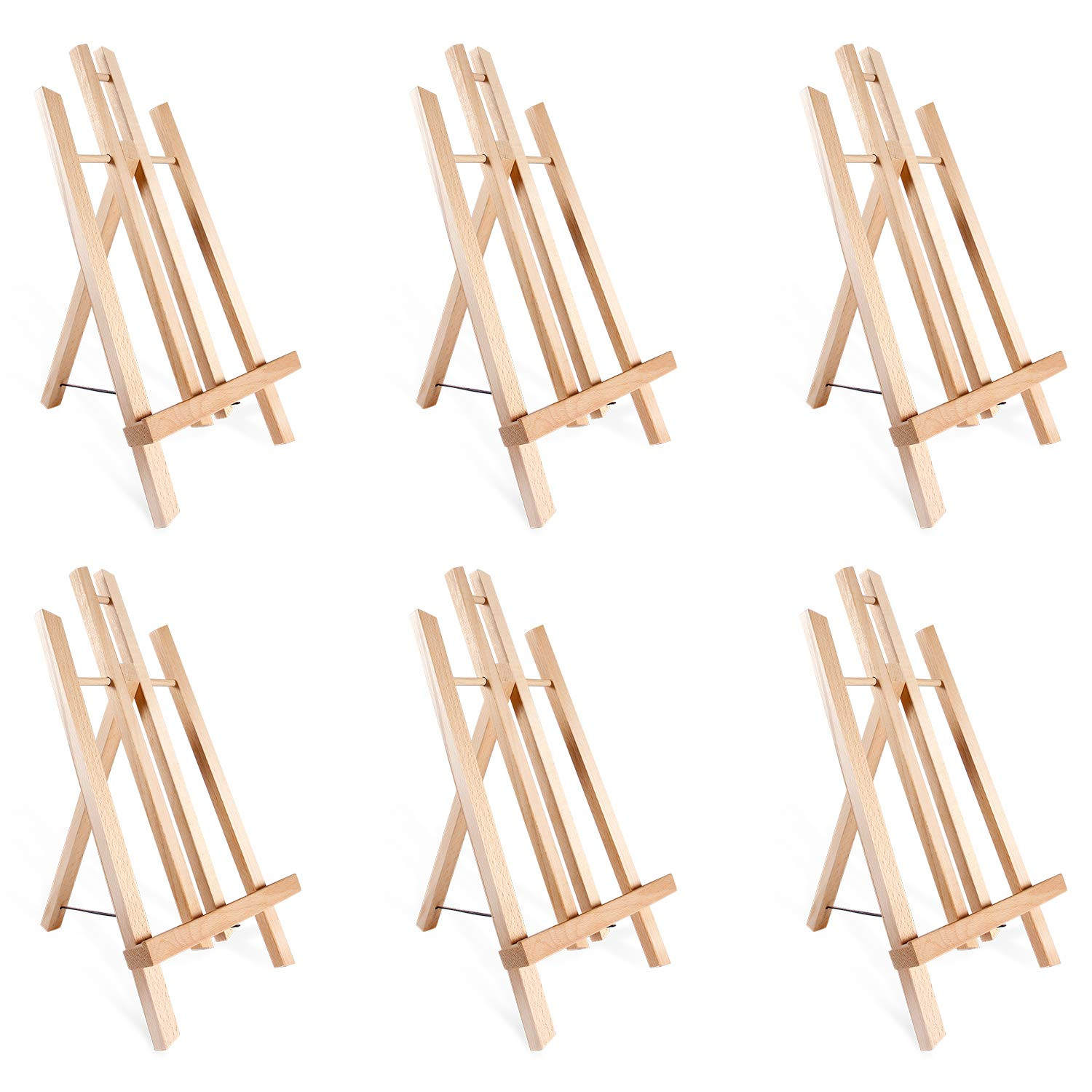 14'' A-Frame Painting Easels (6-Pack), Ohuhu 14 Inches Tall Display Stand Tabletop Art Easel Set Mini Wood Painting Easels for Kids Children Artist Adults Students Classroom Table top Display