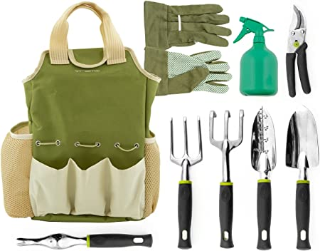 Amazon Com Vremi 9 Piece Garden Tools Set Gardening Tools With