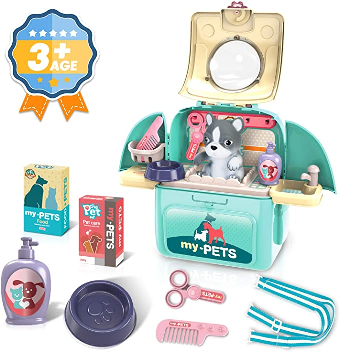 Amazon.com: Ksasmile Kids Pet Grooming Care Play Set, Backpack Transforms to Carry Pet Playset Toys, Doctor Pretend Play Vet Kit Preschool Pre-Kindergarten Toys Gifts for 3 4 5 Year Old Girls Boys: Toys & Games