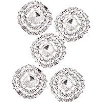 5 Botónes de Cristal Diamante Redondos de 23mm