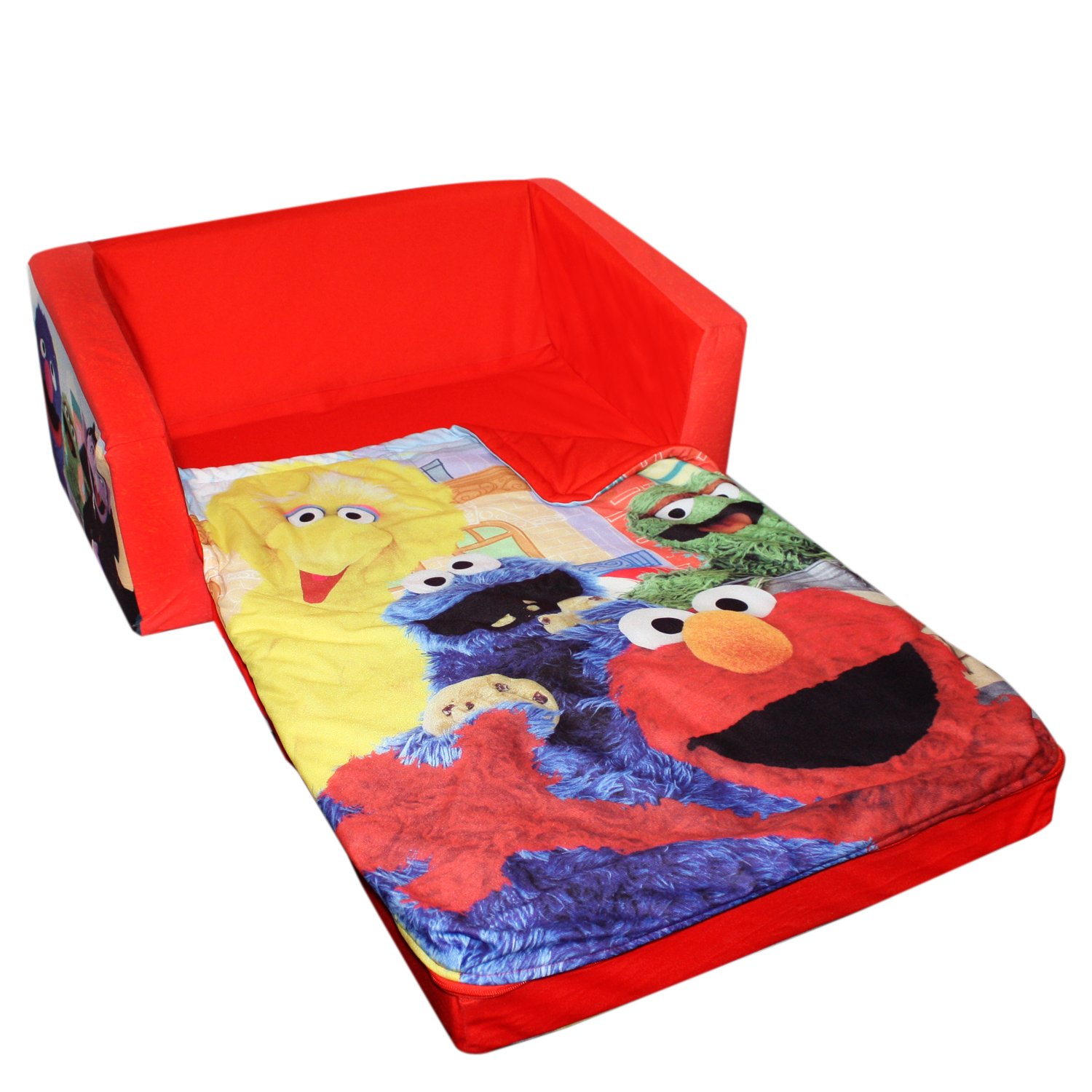 Amazon.com: Marshmallow Fun Furniture Flip Open Sofa With Slumber  Attachment: Sesame Street Theme: Toys U0026 Games