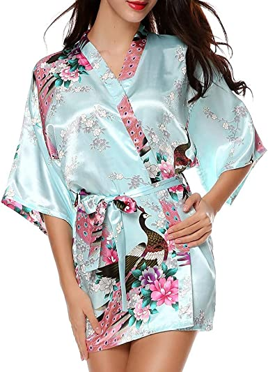 Yellow Silky Floral Womens Kimono  Ladies Dressing Gown  Silky Floral Robe  Bridesmaid /& Brides robe Bridal Party Wedding Satin Robes