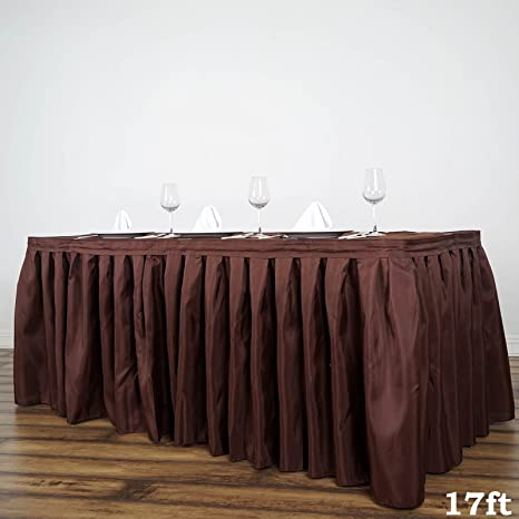 ec7b4f331 Amazon.com: BalsaCircle 17 feet x 29-Inch Chocolate Brown Polyester Banquet Table  Skirt Linens Wedding Party Events Decorations Kitchen Dining: Tablecloths:  ...