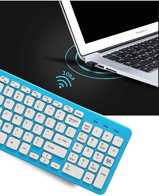 Teclado y Ratón Inalámbrico,SUAVER Teclado Inalámbrico Ergonómico Silencioso Wireless keyboard Mouse(DPI 800/1200/1600),USB,2.4GHz,para PC,Mac (Azul): ...