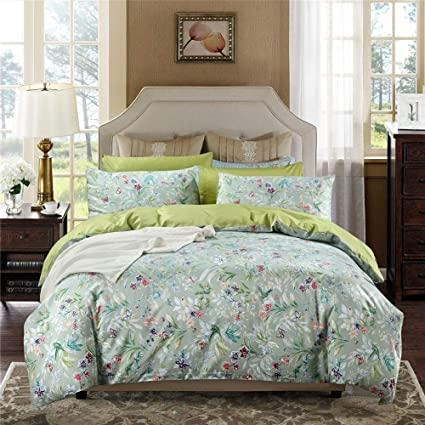3 Piece Green King Cal King Quilt Set Floral Themed Bedding