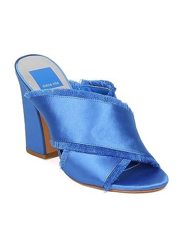 0245cd7a83ad Dolce Vita Henry Women Satin Open Toe Cross Strap Block Heel Sandal HA57 -  Cobalt Blue
