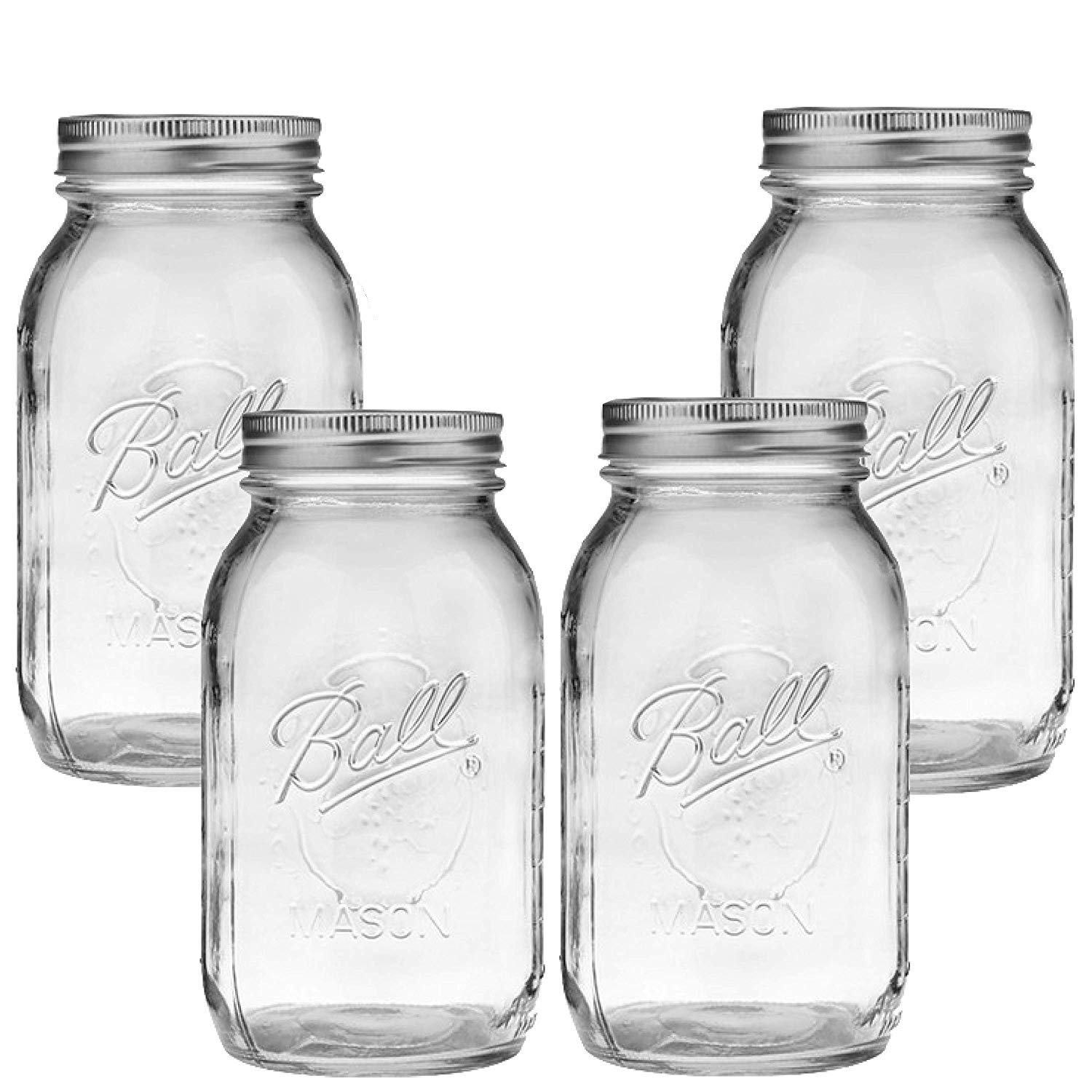 Ball Mason Jar-32 oz. Clear Glass Ball Collection Heritage Series-Set of 4 Jars by Ball