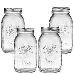 Ball Mason Jar-32 oz. Clear Glass Ball Collection Heritage Series-Set of 4 Jars