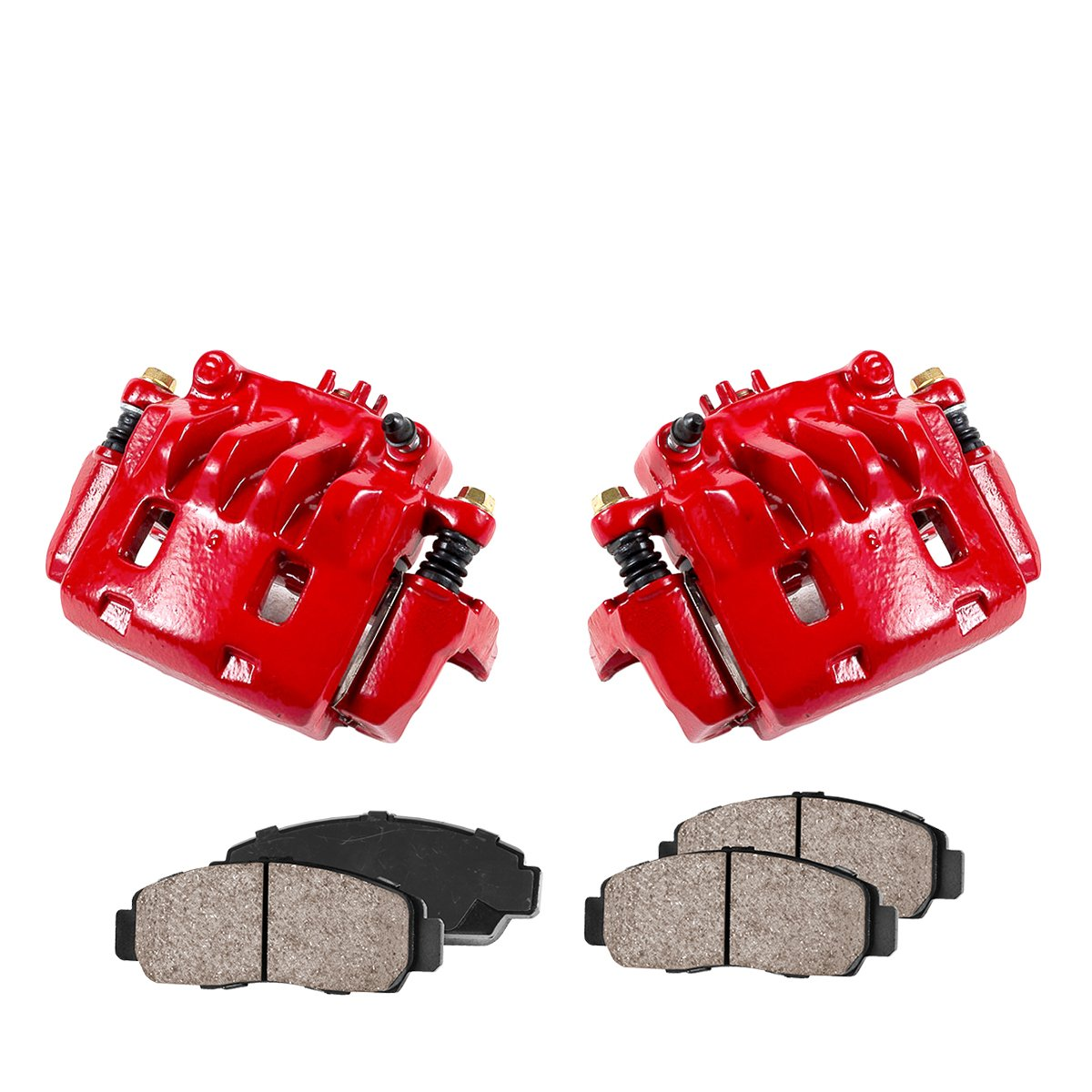 CK00366 [2] FRONT Performance Loaded Powder Coated Red Caliper Assembly + Quiet Low Dust Ceramic Brake Pads Callahan Brake Parts