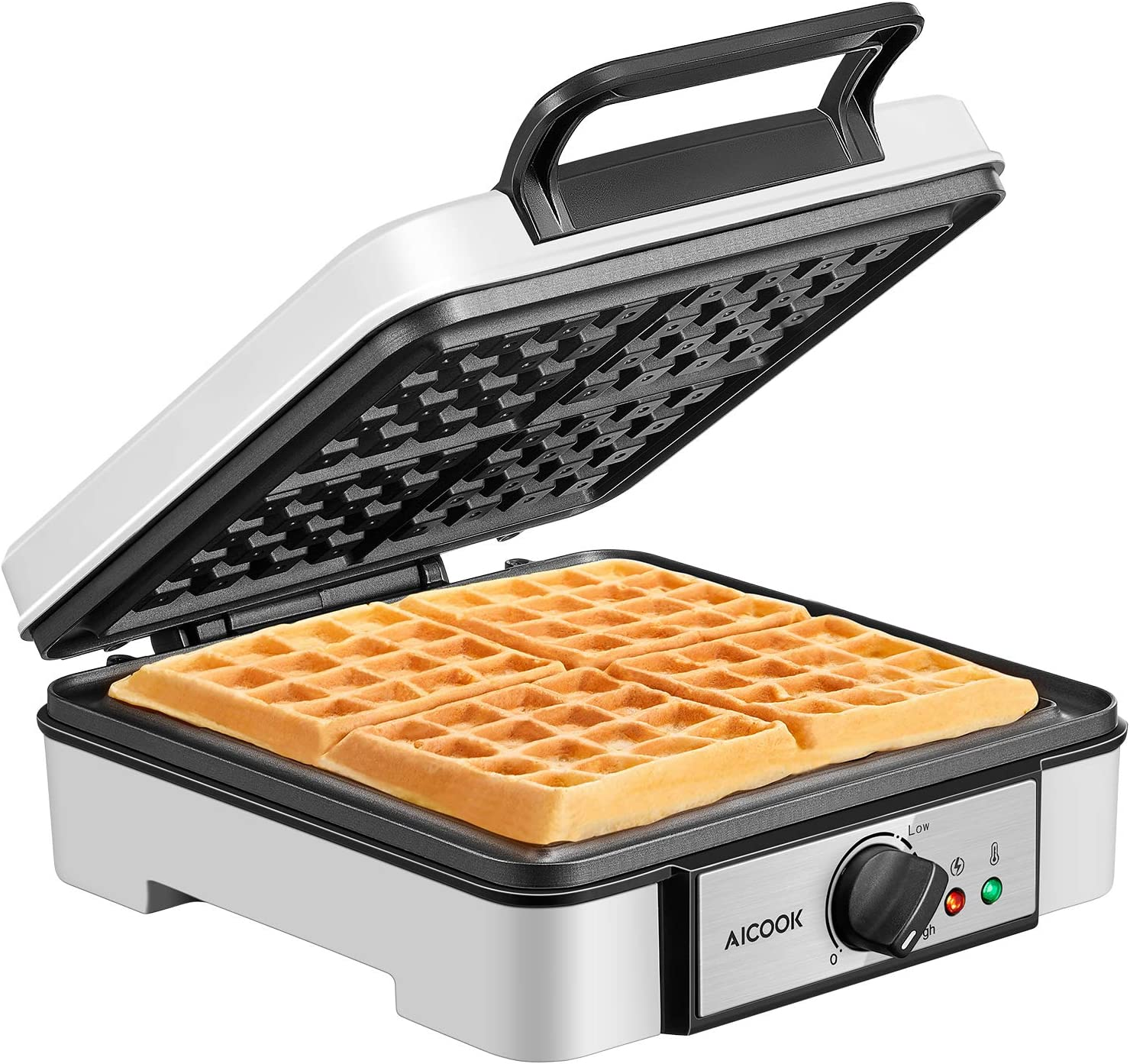 Belgian Waffle Maker Aicook, 4-Slice Waffle Iron 1200W with Temperature Control, Non-Stick, Electric Waffle Machine made of Anti-scald Phenolic Plastic, Easy to Use, Clean and Store