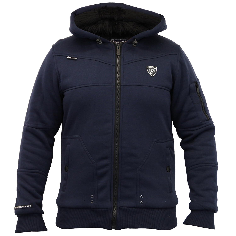 Mens Jacket Rawcraft Sweat Coat Hooded Top Zip Fur Lined Heavy Casual Winter New
