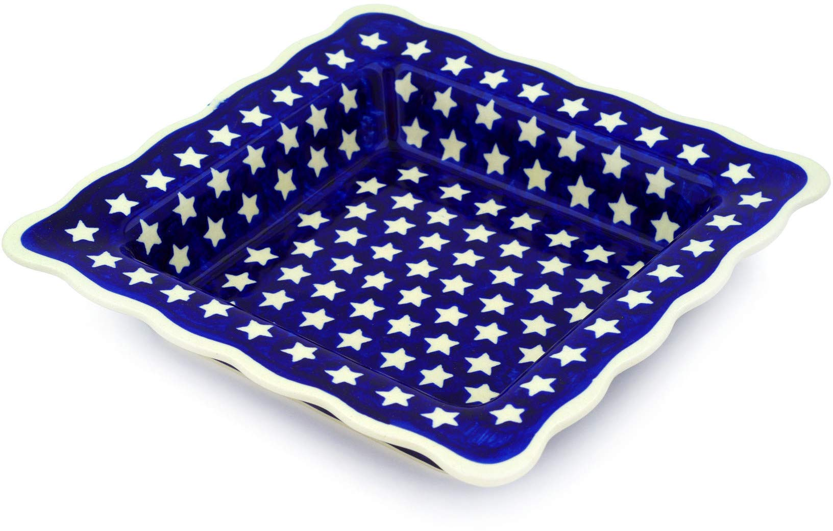 Polish Pottery 9¼-inch Square Bowl (America The Beautiful Theme) + Certificate of Authenticity