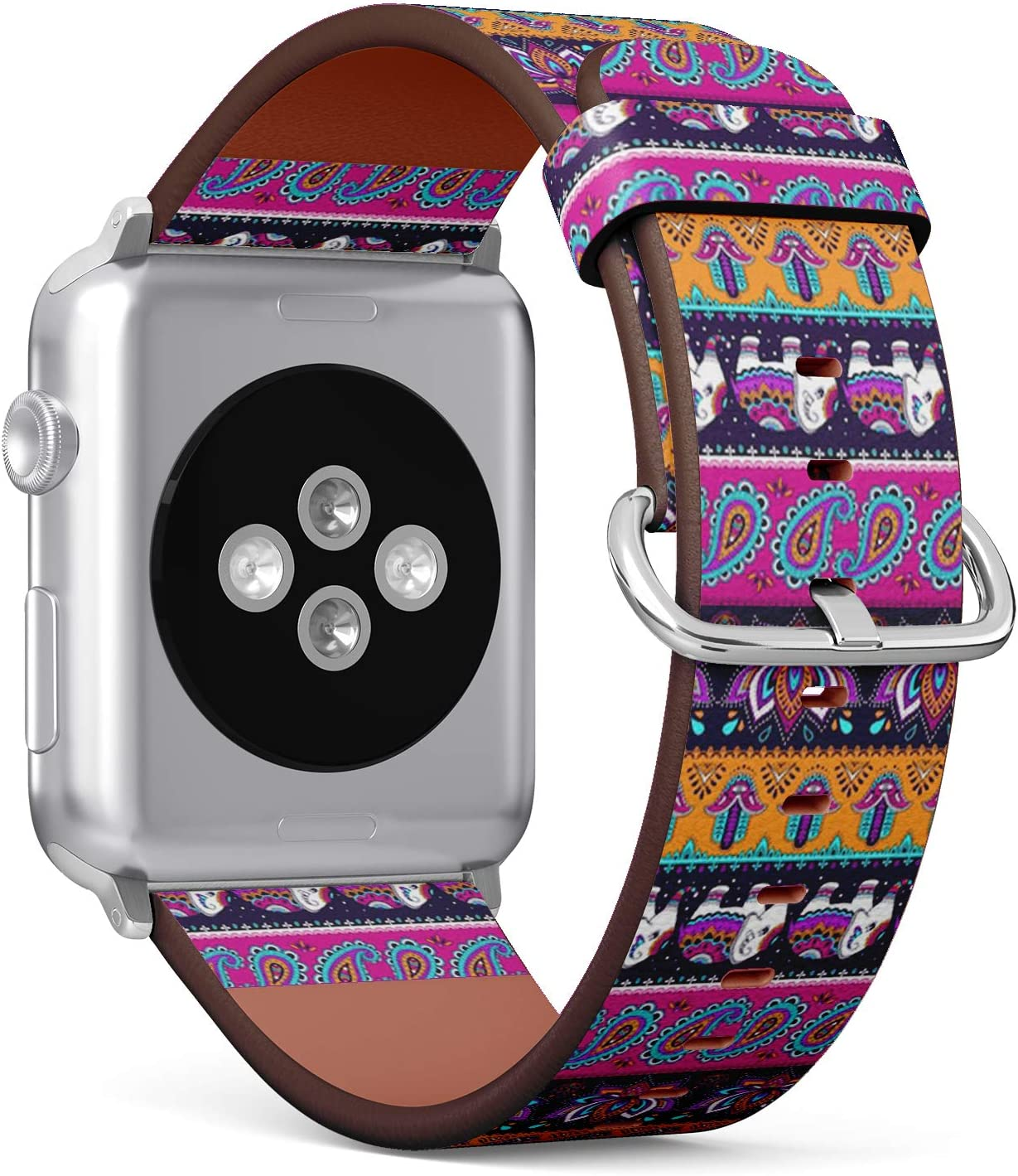 Compatible with Small Apple Watch 38mm & 40mm (Series 5, 4, 3, 2, 1) Leather Watch Wrist Band Strap Bracelet with Stainless Steel Clasp and Adapters (Tribal Elephant)