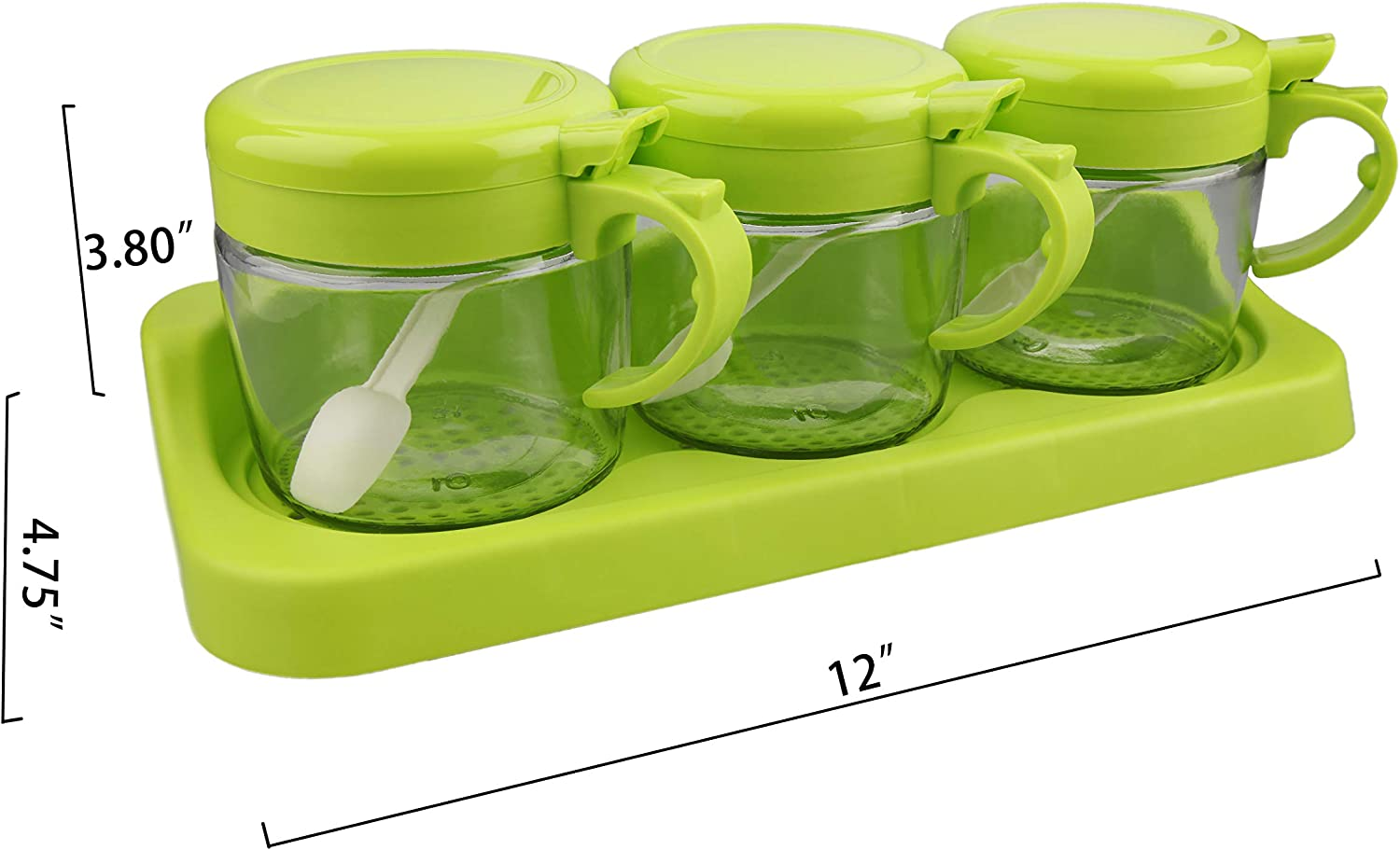 Glass Seasoning Box, Section Seasoning Storage Container Jar Combo Set with Removable Jars Lid, Three Section Spice Box Serving Set with Spoons, Spice Organizer, Spice Containers,Topping Containers(green)