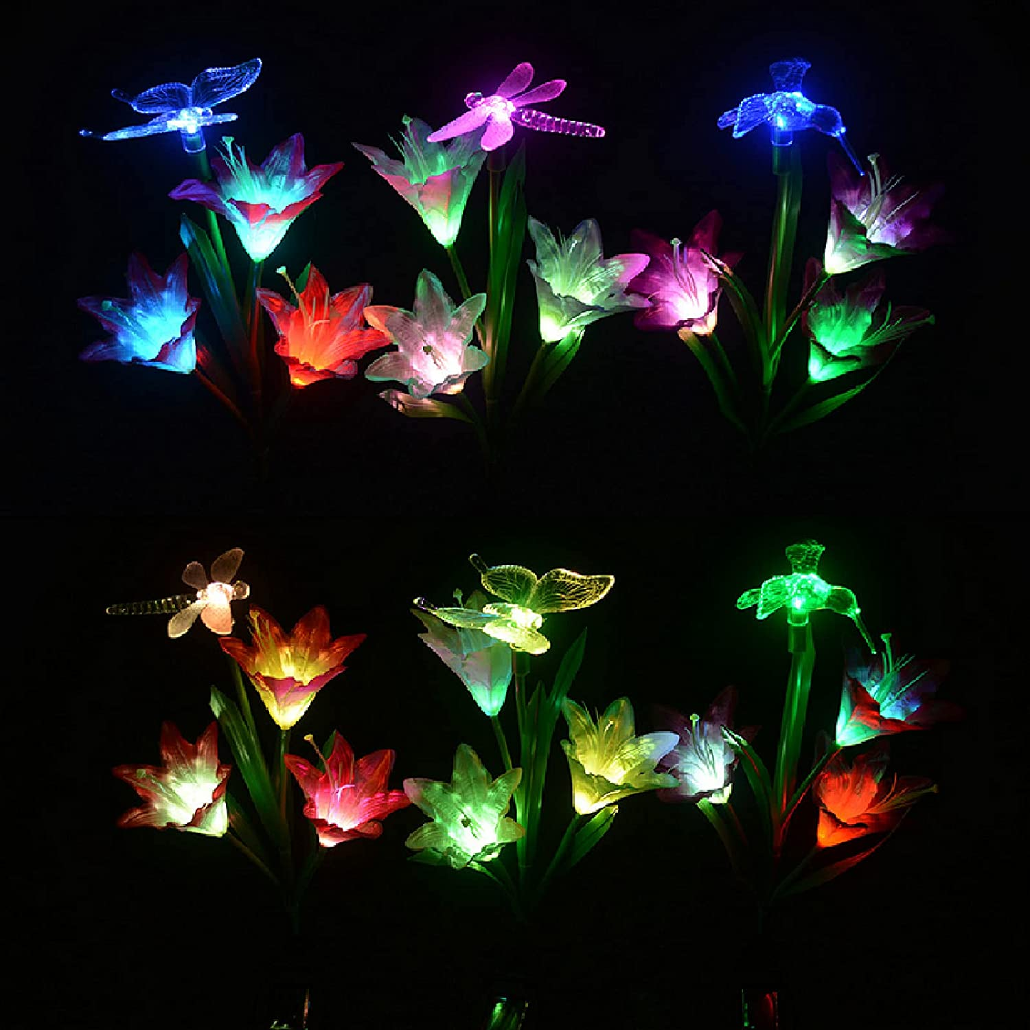 Vency Outdoor Solar LED Flower Garden Light, Garden Decor with 9 Lily Flower and Butterflies Combination Decorative Lights Multi-Color Changing LED Solar Stake Lights for Garden, Patio, Backyard