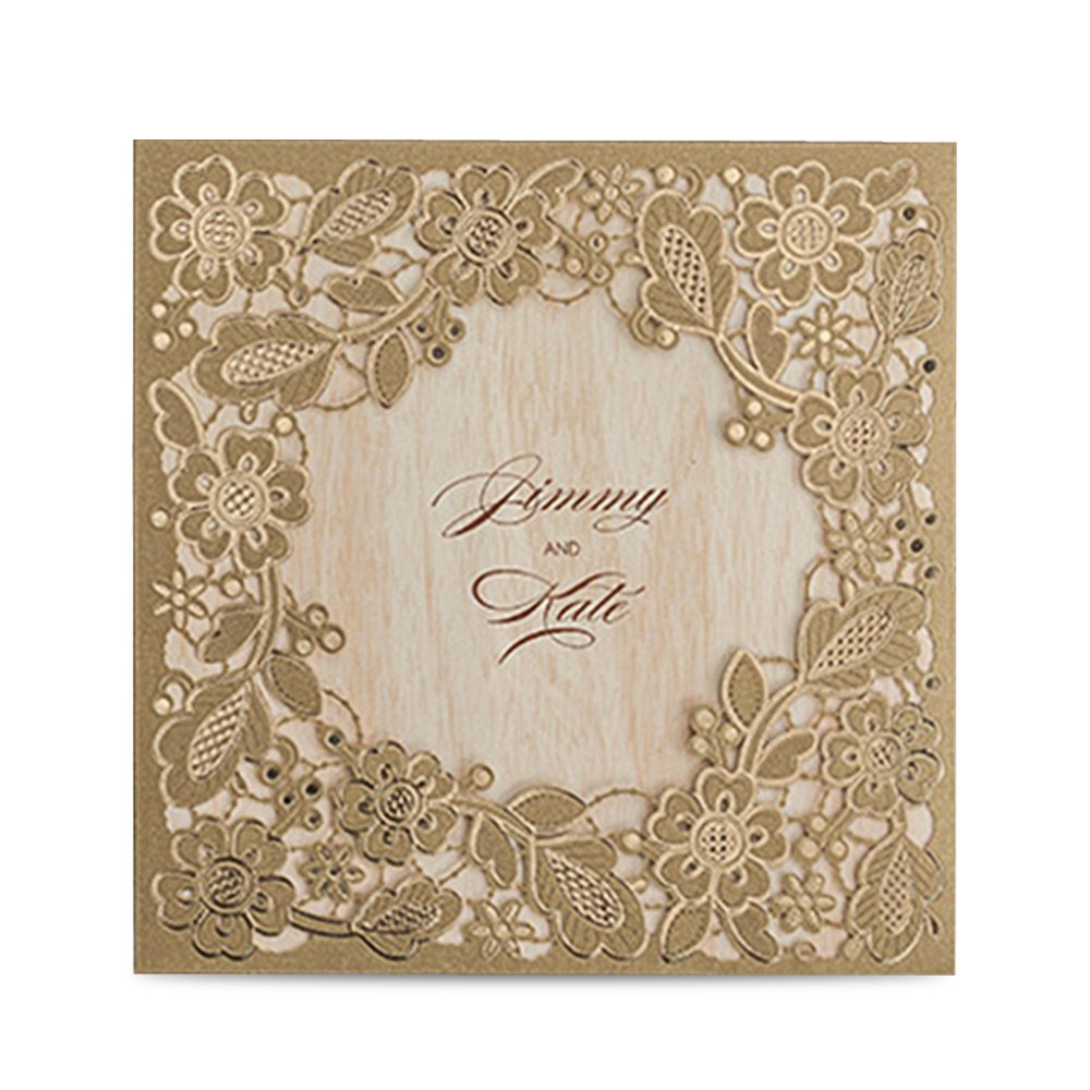 Doris Home Gold Square Laser Cut Wedding Invitation Cards Kits with Embossed Hollow Floral Favors Bridal Shower Engagement Birthday Baby Shower Quinceanera Graduation Cardstock,CW5279 (50)