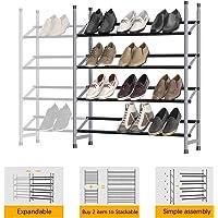 4-Tier Stackable Shoe Rack, Expandable & Adjustable Shoe Shelf Storage Organizer 24 Pairs Shoe Tower for Bedroom, Living…