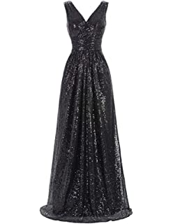 eaa97efb16a Kate Kasin Women Sequin Bridesmaid Dress Sleeveless Maxi Evening Prom  Dresses