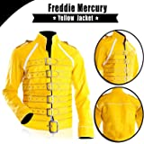 UGFashions Freddie Mercury Wembley Queen Concert Belted Motorcycle Leather Yellow Jacket Costume
