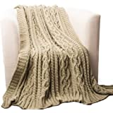 "Battilo Knitted Luxury Chenille Throw Blanket, Oversize, 51"" L x 67"" W, Camel"
