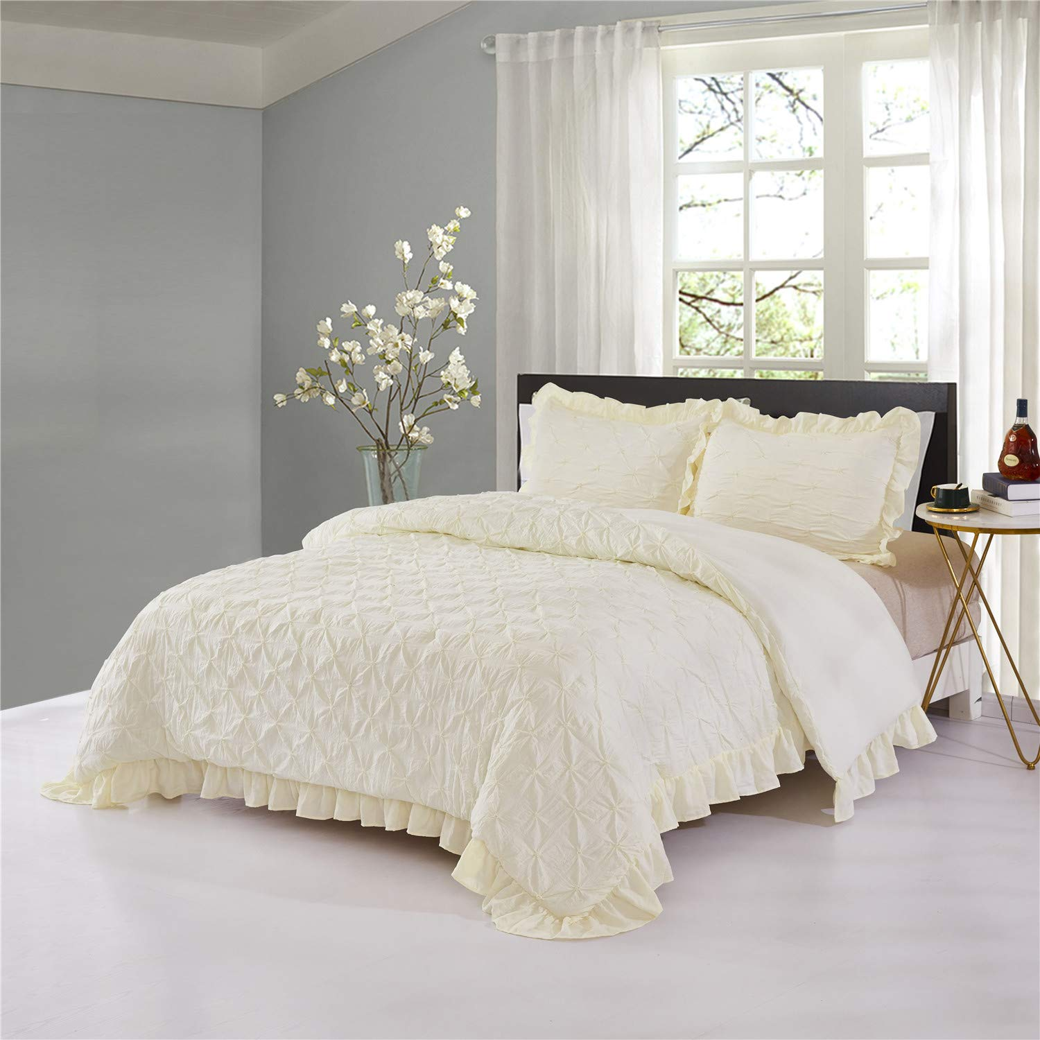 HIG Pinch Pleated Comforter Set Queen Ivory Lace Ruffled- Super Soft Hypoallergenic Prewashed Microfiber - Shabby Chic Farmhouse Style - Pintuck Ruffled 3 Piece Bedding Set (Brianna-Queen, Ivory)