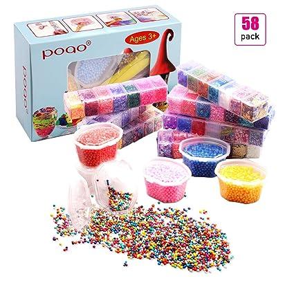 58 Pcs Slime Kit incluyen bolas pecera, Bolas espuma, Glitter, confeti, Contenedores
