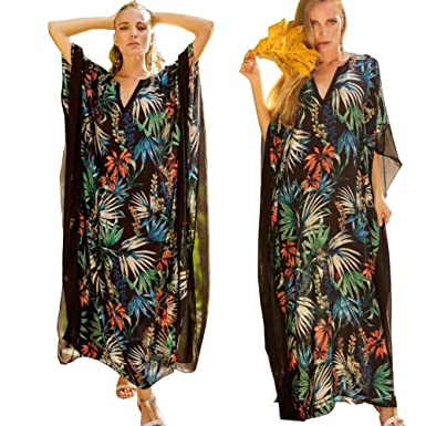 ba233602615 ilovgirl 2018 Summer Women Boho Chic Floral Bohemian Long Dress Chiffon  Loose Kaftan Beach Maxi Dress