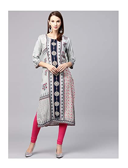dee05d86af34a Amazon.com  Hiral Designer mall Indian dress for women kurti Grey Printed  Straight Kurta for Women Tunic Top Dress 3 4 sleeve kurti  Clothing