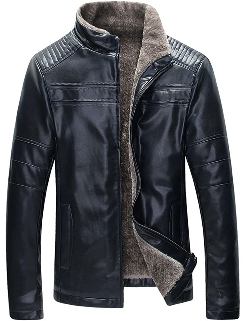 K3K New Mens Winter Stand Collar Sheep Skin Lamb Wool Lined Washed Leather Jacket