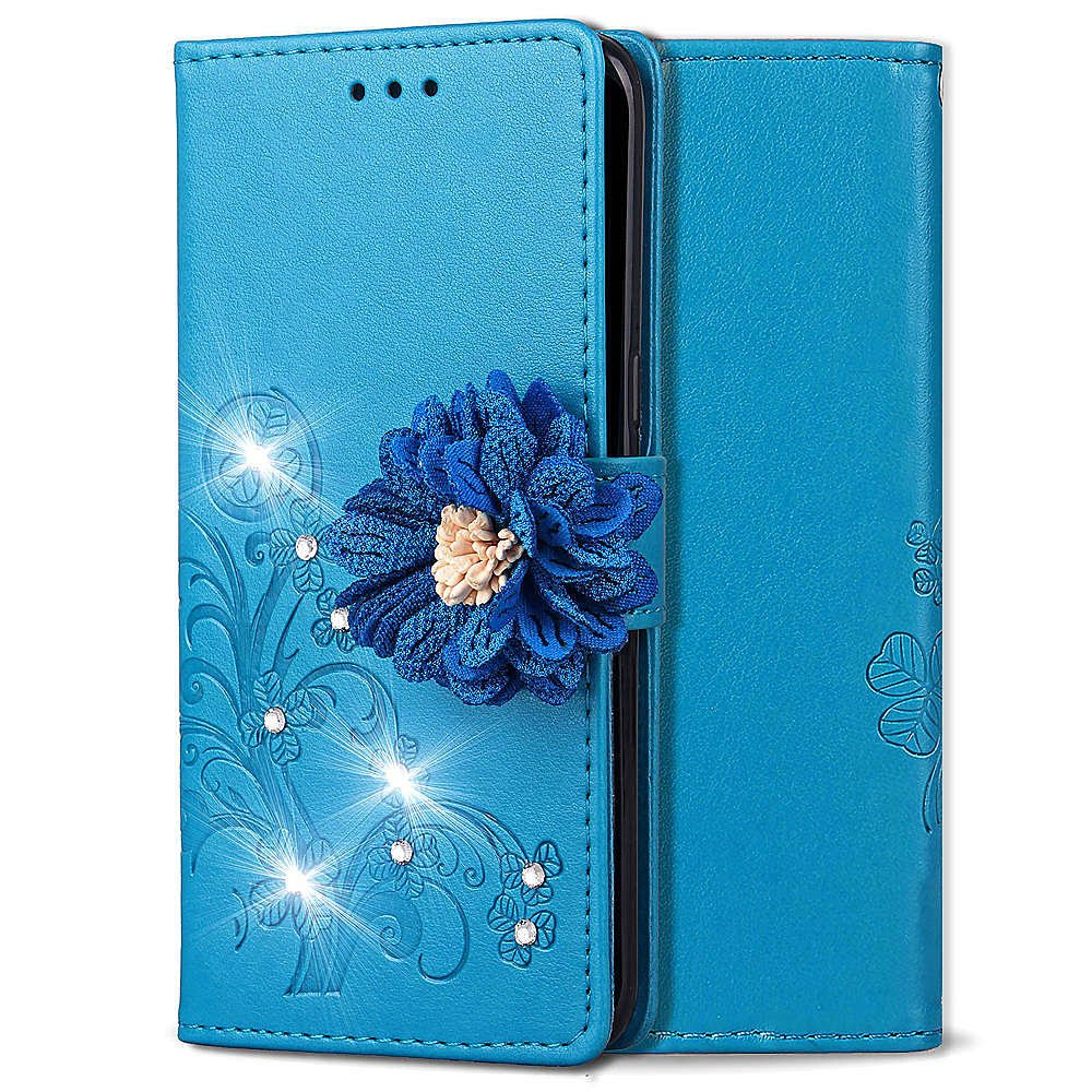 Shinyzone Leather Wallet Case for Samsung Galaxy J7 2018,Elegant Embossed Flower Bling Diamond Pattern Flip Cover with Card Slots Magnetic Closure Stand Cover for Samsung Galaxy J7 2018,Blue