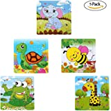 Sealive Wooden Jigsaws 16 Piece Animals Puzzles Best Game for Kids Toddler,Giraffe Elephant Turtles Frog Bees Square Puzzle Problem Solving Playing Card Safe Education Learning Toys(5 pack,each 16pcs)