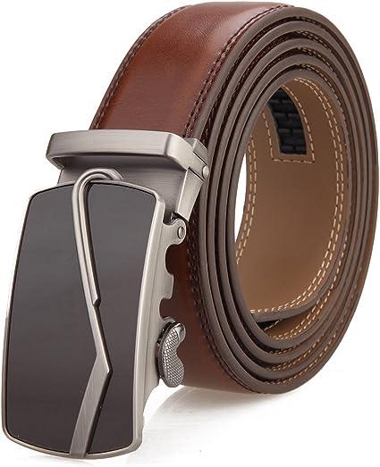 Mens Ratchet Slide Belts Leather Automatic Buckle#002