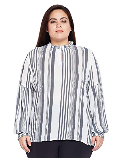 2f96aac977d0f3 oxolloxo Plus Size Women Round Neck Off White Top Long Sleeves  Amazon.in   Clothing   Accessories