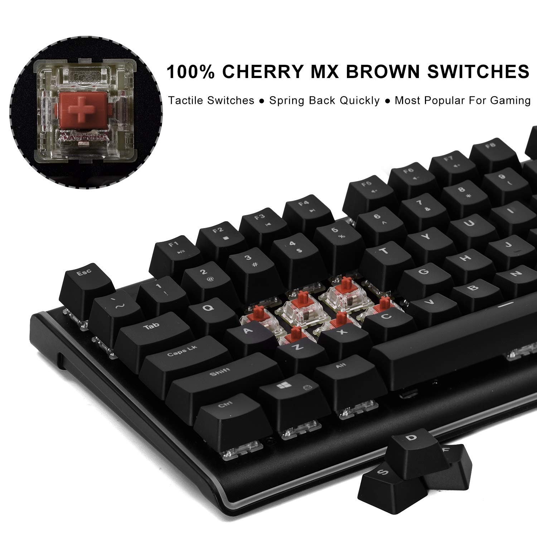 Amazon.com: DURGOD Gaming Mechanical Keyboard [Cherry MX Brown Switches] 87 Keys RGB LED Illuminated Backlit Flowing Light Edge Mechanical Gamer Keyboard ...