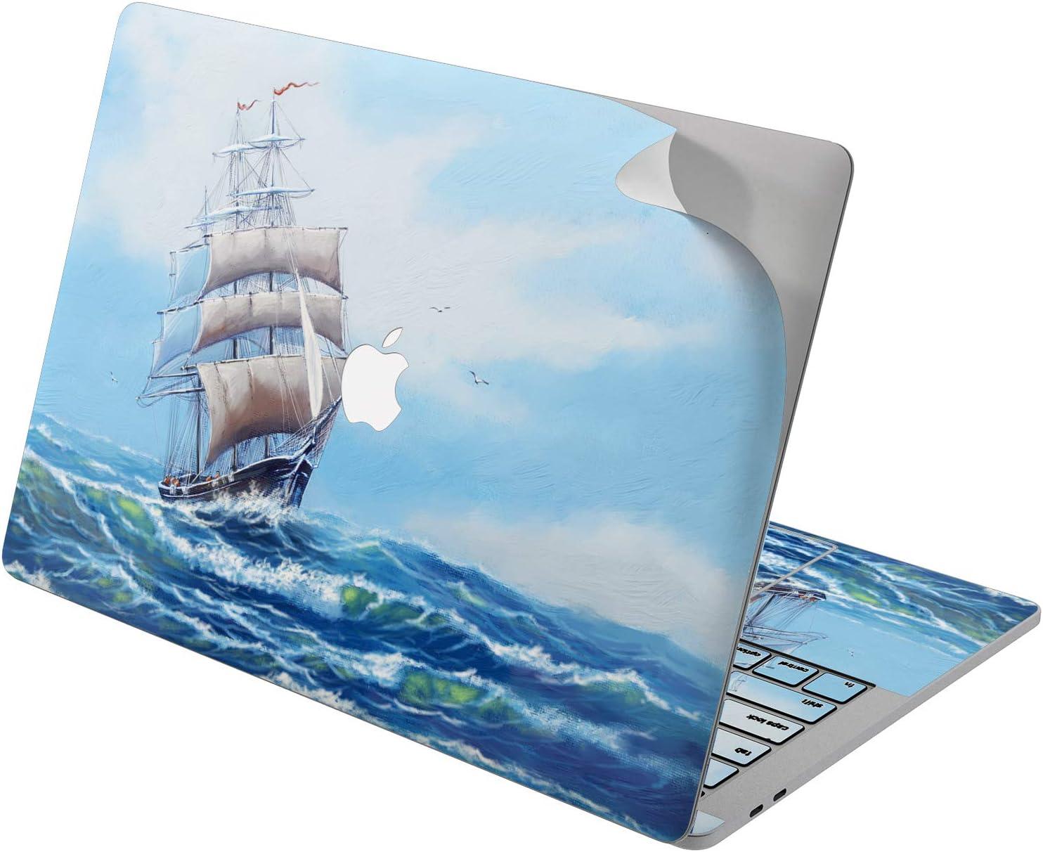 "Cavka Vinyl Decal Skin for Apple MacBook Pro 13"" 2019 15"" 2018 Air 13"" 2020 Retina 2015 Mac 11"" Mac 12"" Wave Cover Protective Print Artwork Ocean Ship Laptop Marine Sticker Sailing Paint Sea Design"