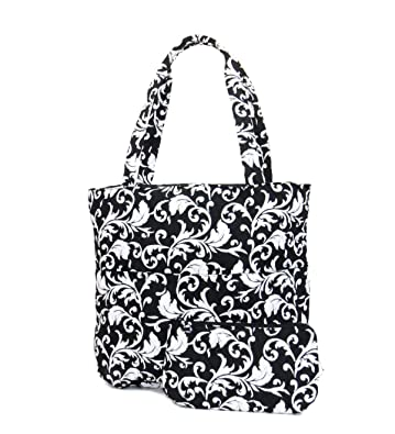 Amazon Egfas Quilted Tote Bag With Pouch Damask Black White