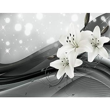 Fototapeten Blumen Lilien Schwarz Weiß 352 X 250 Cm Vlies Wand Tapete  Wohnzimmer Schlafzimmer Büro Flur