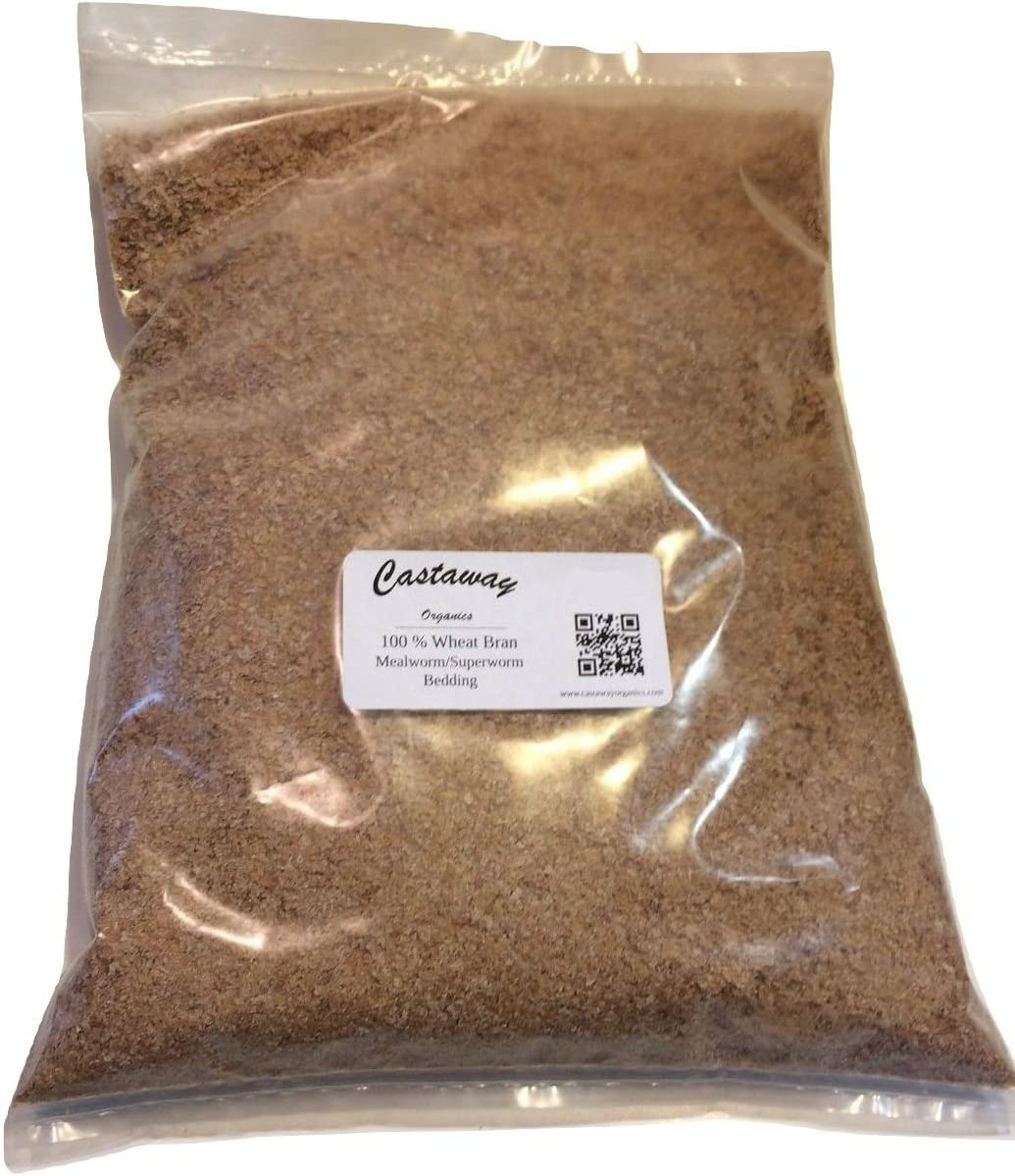 Castaway Organics Wheat Bran with Insecta-Load Gut Load for Mealworms Superworms (3 lbs)