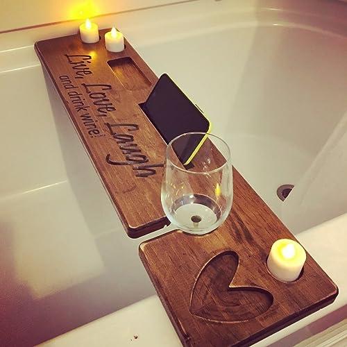 Amazon.com: Personalized Rustic Bath Caddy, Bath Tray, Bath Board ...