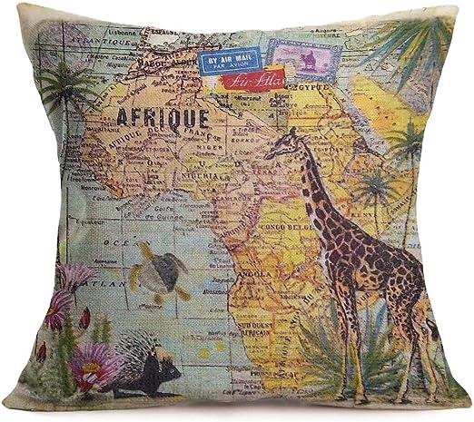 18' Animals /& Map Cotton Linen Throw Pillow Case Car Cushion Cover Home Decor