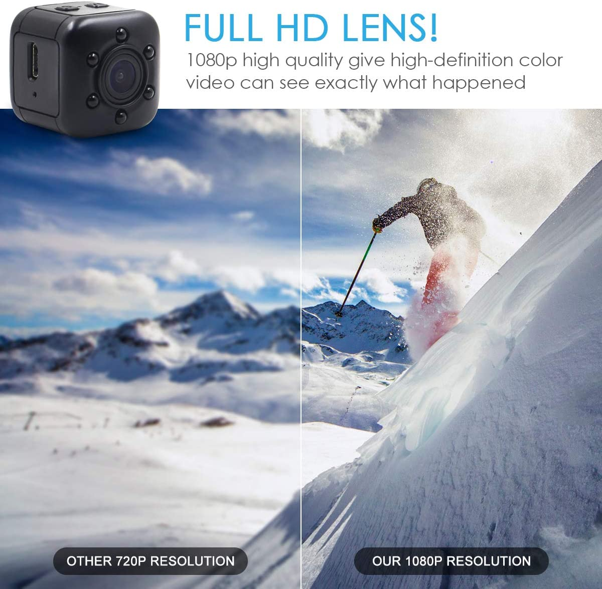 JLRKENG Mini Hidden Spy Camera Portable Small 1080P Wireless Cam with Night Vision and Motion Detection
